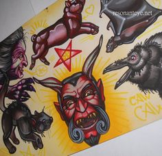 devil, witch, cat, pig and bat tattoo #flash, #satan #tattoos via http://resonanteyes.etsy.com