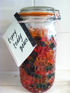 Tipsy Teddy Bears: Put five 5 oz pkgs in lg mason jar with lid. Pour 3 cups vodka over them. Stir or seal and roll jar to coat bears. Refrigerate 48 hrs. Drain excess vodka. Serve and enjoy!