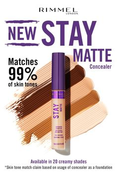 Get instant, flawless coverage with Rimmel London's NEW Stay Matte Concealer. Available in 20 creamy shades that match of skin tones. Day Makeup, Skin Makeup, Makeup Tips, Beauty Makeup, Makeup Lipstick, Matte Primer, Skin Shine, Lip Balm Tubes, Even Out Skin Tone