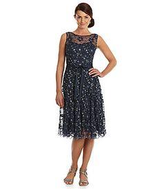 SL Fashions Belted Metallic Floral Lace Dress #Dillards