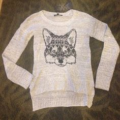 Gray Sweater Top High Low Sweater Top with Black Fox Print on front. Large Juniors, fits like woman's medium. Sweaters