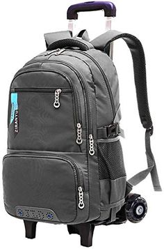 83dcce2a1ba38 New Fanci Solid Color Boys Waterproof Middle High School Rolling Trolley  Backpack Travel Rucksack Backpacks.
