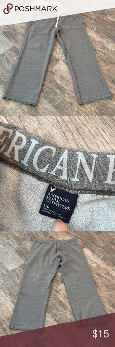 American eagle sweats American Eagle sweats. Size large. Grey. Drawstring. Shorter inseam 27. In excellent condition. Clean smoke free home American Eagle Outfitters Pants Sweatpants & Joggers