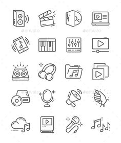 Audio Video Line Icons - Just simple icons! Audio Video Line Icons - Just simple icons! Doodle Tattoo, Tatoo Art, Doodle Drawings, Easy Drawings, Music Doodle, Cute Doodle Art, Doodle Icon, Bullet Journal Writing, Bullet Journal Ideas Pages