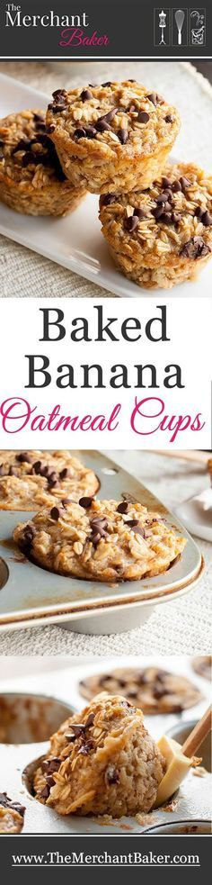 Baked Banana Oatmeal Cups. A hearty and healthy oatmeal that you can make ahead. Baked in individual cups so they're an easy grab and go breakfast!