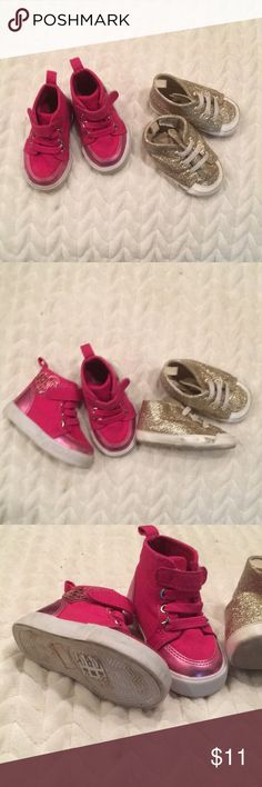 Gymboree Girls Sz4 Sneakers 👟🎀 Good used condition, the gold sneakers were probably worn more than the pink hightops. However there's plenty of life left in the gold ones and the pink ones I think were worn twice. My daughter outgrew them Gymboree Shoes Sneakers