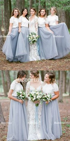 2 Pieces Long Bridesmaid Dresses A-line Bridesmaid Dresses Lace Tulle | bestonsell Two Piece Bridesmaid Dresses, Sorella Vita Bridesmaid Dresses, Modest Bridesmaid Dresses, Lace Bridesmaid Dresses, Modest Dresses, Wedding Dresses, Bridesmaid Colours, Bridesmaid Outfit, Modest Wedding