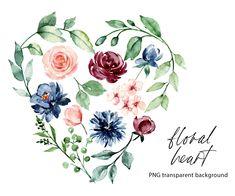 Burgundy Flowers, Free Advertising, Print Templates, Watercolor Flowers, Digital Illustration, Pink Blue, Wedding Invitations, Commercial, Clip Art