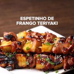 Espetinho de Frango Teriyaki: | Quatro espetinhos diferentes para servir no próximo churrasco