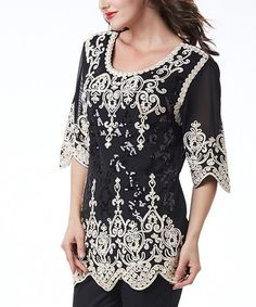 Look at this #zulilyfind! Black & White Crochet Three-Quarter Sleeve Tunic by Simply Couture #zulilyfinds