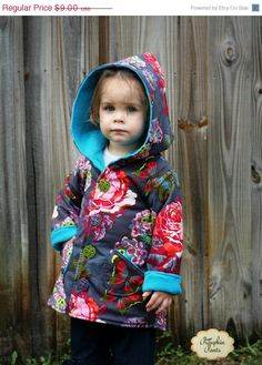 Whimsy Couture Sewing Pattern Tutorial PDF ebook -- Hooded Jacket Boys Girls -- (reversible) sizes 2t -size 10