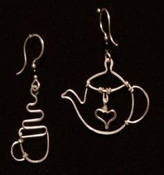More earrings - Liz Patton Design Wire Jewelry Earrings, Copper Jewelry, Wire Wrapped Jewelry, Beaded Jewelry, Silver Earrings, Jewlery, Wire Crafts, Jewelry Crafts, Wire Ornaments