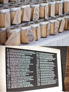 caramel sauce gift and chalk board table assignments
