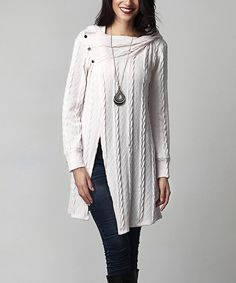 Look at this #zulilyfind! Winter White Cable Knit Asymmetrical-Button Hooded Tunic by Reborn Collection #zulilyfinds