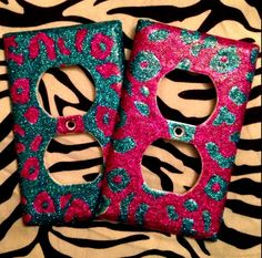 Set of 2 Cheetah Print Outlet or Light Switch Plates