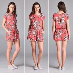 D5560 Loose fit short sleeves round neck romper. Elastic at waist. Has pocket on side seams. Has keyhole at back with single button closure. This romper is made with lightweight floral print on reversed french terry fabric that is soft drapes well and stretches very well.  #cherishusa #cherishapparel #shopcherish #springfashion #fashionbuyer #boutique #fashion #fashiondiaries #instafashion #instastyle #fashionstyle #ootd #fashionable #fashiongram #springstyles #clothingbrand #spring2016…