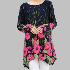 "Navy/Fuchsia Floral Asymmetrical Sweater Navy/Fuchsia Floral Asymmetrical Sweater Soft & Stretchy! Design goes all the way around to the back of the sweater, so you will look lovely coming AND going! Bust-40"" Hips-44"" Length (shortest)-28"" Length (longest)-32"" Sweaters"