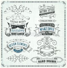 Set of Hand Drawn Banners and Frames - Royalty Free Stock Vector Art Illustration