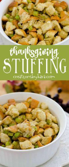 Easy Herb Stuffing Recipe - a favorite Thanksgiving recipe for years! #thanksgiving #stuffing via creationsbykara.com