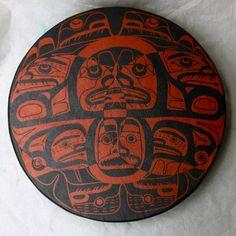 "Killer Whale Family 18"" Drum  Deer Skin, Acrylic Paint  Collection of Marie Cook, Metlakatla, Alaska  December 2012"