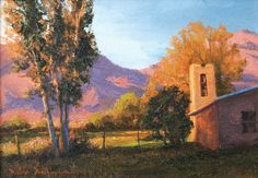 SOLD I Arroyo Seco Bell Tower I 5x7 I Dix Baines I Fine Artist Original Oil Paintings I Mountains I New Mexico I Southwest I www.dixbaines.com