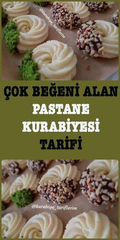 Çok beğeni alan ve çok tavsiye edilen pastane kurabiyesi tarifi. Bir kaç dakika içerisinde bu lezzeti öğrenebilirsiniz. Cookie Recipes, Dessert Recipes, Food Platters, Pastry Cake, Arabic Food, Turkish Recipes, Frozen Yogurt, Yummy Cakes, Bakery