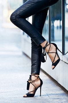 black lace up Jimmy Choos