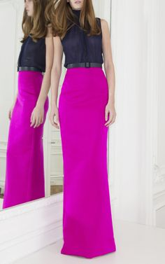 Long Slim Satin Skirt by Martin Grant for Preorder on Moda Operandi