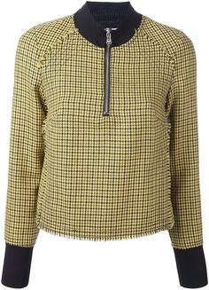 3.1 Phillip Lim high collar houndstooth top  Details: Yellow and black wool high collar houndstooth top featuring a ribbed stand up collar, a front zip fastening, a houndstooth pattern, frayed edges, long sleeves, ribbed cuffs and a straight hem.