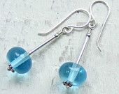 Recycled bombay sapphire lampwork glass beads and sterling silver earrings
