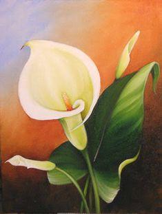 Resultado de imagem para pintura em tela Lily Painting, Tape Painting, Acrylic Painting Canvas, Painting & Drawing, Canvas Art, Calla Lillies, Calla Lily, Big Flowers, Beautiful Flowers