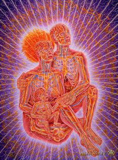 """New Family"" by Alex Grey 1985-86, oil on linen, 90 x 60 in.  There is always hope in a new family. They face an uncertain future but they are grounded in pure devotional love. Their love binds them together in a braid of souls."