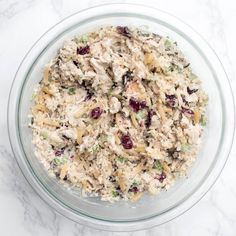 Long Grain and Wild Rice Chicken Salad made with Uncle Bens® is creamy, crunchy, and delicious. Try it rolled up into a wrap or all in its own! ~ http://www.fromvalerieskitchen.com