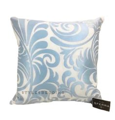 "SFERRA Adriatico Aqua Embroidered 21"" x 21"" Square Decorative Pillow #SFERRA"