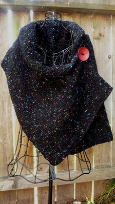 Love this!!   Black crocheted wrap with red button by redbootyarnworks on Etsy, $45.00