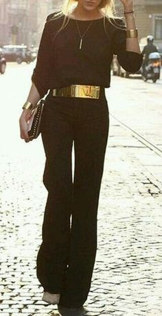 Women Style 2019 - Elegant Round Neck Black Jumpsuit For Women Ropa Semi Formal, Black Women Fashion, Womens Fashion, Look Formal, All Black Outfit, Black Jumpsuit Outfit, Looks Chic, Jumpsuits For Women, Dress To Impress