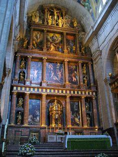 El Escorial  (Basillica); Madrid, Spain; ca. 1563-84; Juan Bautista de Toledo (died 1567) & Juan de Herrera; Patron - Phillip II - Retablos - high altar form that we will see in Jesuit churches - Panel paintings by Florentine artists with life size bronze sculptures from Milan (Leoni)