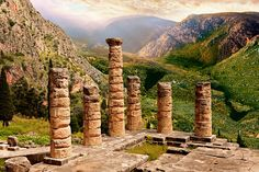 GREECE CHANNEL | The ruins of the 4th century BC Temple of Apollo , a peripteral Doric building.  Delphi, archaeological site, Greece,