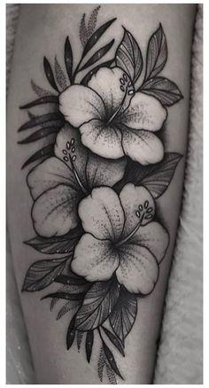 Hawaii Flower Tattoos, Hibiscus Flower Tattoos, Flower Thigh Tattoos, Flower Tattoo Shoulder, Rose Tattoos, Leg Tattoos, Flower Cover Up Tattoos, Flower Tattoo Drawings, Beautiful Flower Tattoos