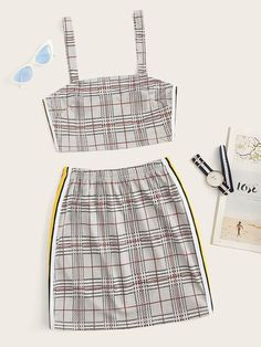 Stripes Fashion, Denim Fashion, Two Piece Outfit, Two Piece Skirt Set, Striped Cami Tops, Summer Outfits, Cute Outfits, Striped Fabrics, Clothing Co