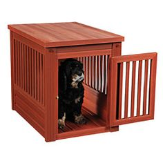 @Overstock - This containment space features a closing, latching door. This pet containment space features a chestnut finish and a built-in floor.http://www.overstock.com/Pet-Supplies/New-Age-Eco-Friendly-Dog-Crate/5911663/product.html?CID=214117 $189.99