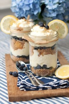 Lemon Berry Cheesecake Trifles   1 store-bought pound cake, cut into 1/2 inch cubes 2 cups fresh blueberries For the graham cracker streusel: 6 cinnamon graham crackers, crushed to crumbs in a food processor 1/3 cup light brown sugar, packed 1/4 cup finely chopped almonds 4 Tbsp butter, melted pinch salt For the cheesecake filling: 16 o