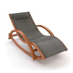 Ampel 24, Chaise longue de jardin à bascule RIO | 170x70cm | en bois de mélèze | avec coussin