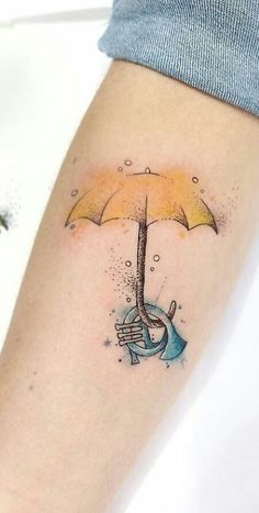 cute umbrellas Yellow Umbrella and Blue French Horn, How I Met Your Mother Tattoo Geek, Tattoo Diy, How Met Your Mother, Umbrella Tattoo, Cute Umbrellas, Yellow Umbrella, Blue Tattoo, Yellow Tattoo, Mother Tattoos