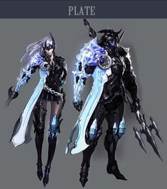 Dark plate mail. O.o  I definitely want a sexy character in armor like this~
