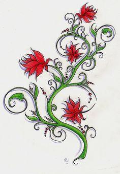 flower tattoo design by CraZyRaj on DeviantArt Floral Tattoo Design, Flower Tattoo Designs, Flower Tattoo Drawings, Flower Tattoos, Picture Design, Deviantart, Artist, Flowers, Pictures