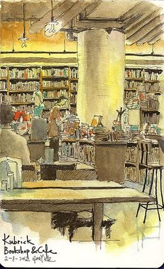 Sketching at Kubrick Bookshop Cafe 睇新宇宙威龍前畫油麻地 Kubrick by Gary Yeung HK, via Flickr