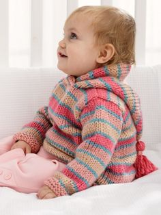Free Pattern - Thick and thin stripes draw attention in this cute hoodie #knit in Patons Beehive Baby Chunky