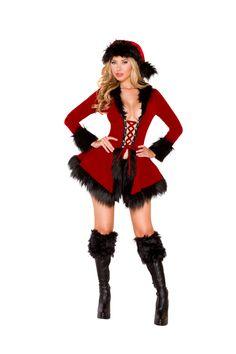 938606401d5c8 Sexy Roma Red Black Christmas Mrs. Claus Evil Santa s Cutie Lil  Little  Helper Holiday