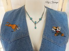 Vintage Mickey Mouse Denim Vest Denim Sleeveless Shirt